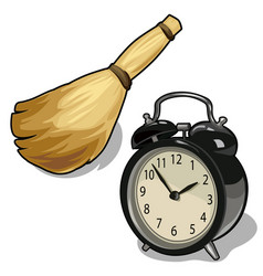 Alarm clock and a broom symbols of cleaning time vector