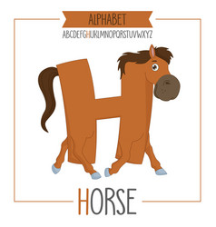 alphabet letter h and horse vector image vector image