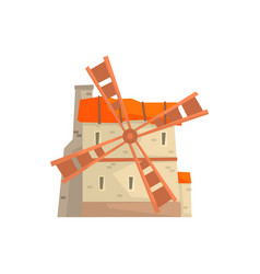 ancient stone windmill building cartoon vector image vector image