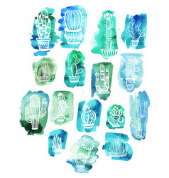 cactuses on the watercolor background vector image vector image