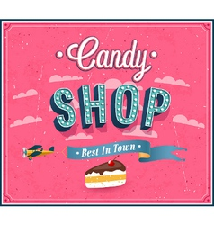 Candy shop typographic design vector image