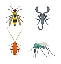 collection of icons of colorful bugs on vector image vector image