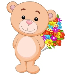 Cute bear cartoon holding flower bucket vector image