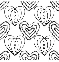 decorative hearts black and white seamless vector image vector image