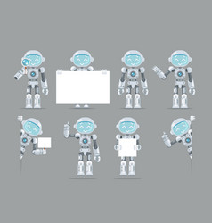 different poses boy teen robot android artificial vector image vector image