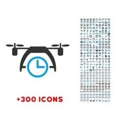 Drone clock icon vector