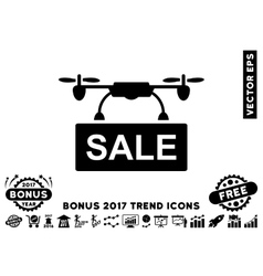 Drone sale flat icon with 2017 bonus trend vector