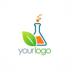Eco science bottle logo vector