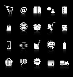 Ecommerce icons with reflect on black background vector image vector image