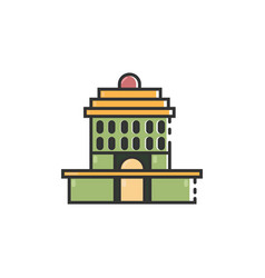 flat color oakland city hall icon vector image