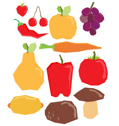 Flat fruit and vegetables set vector