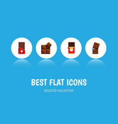 Flat icon cacao set of chocolate chocolate bar vector