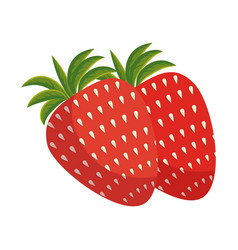 Fresh strawberries fruit icon vector
