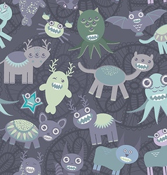 Funny monsters seamless pattern on dark background vector image vector image