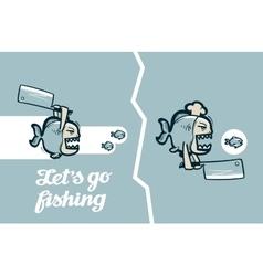 Funny piranha fish vector