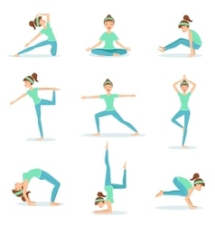 Girl In Blue Training Clothes Demonstrating Yoga vector image vector image