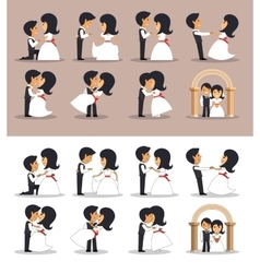 Just married couples in different poses vector