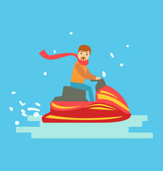 Man riding on snowmobile in winter holidays vector