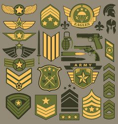 military symbol set army patches vector image vector image