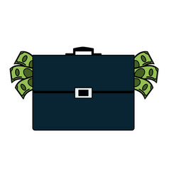Money bills coming out of briefcase icon image vector