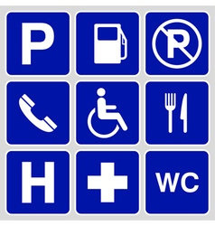 Parking symbols and signs collection vector