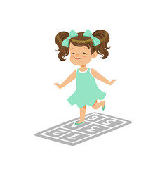 preschool girl playing in jumping hopscotch game vector image