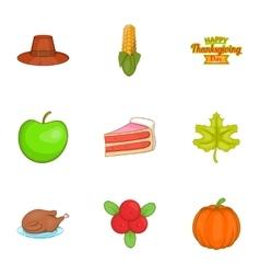 Public holiday of USA icons set cartoon style vector image