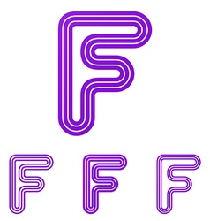 Purple line letter f logo design set vector