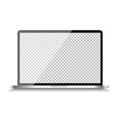 Realistic computer laptop with transparent vector