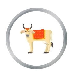 Sacred cow icon in cartoon style isolated on white vector image vector image