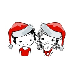 Santa girl and boy sketch for your design vector image