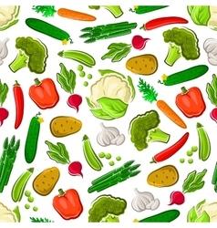 Seamless veggies pattern for farming design vector image vector image