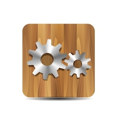Settings administrator cogwheel on wood vector image