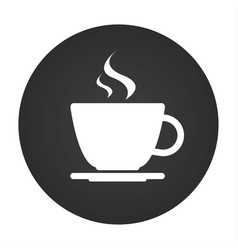 Simple round icon of coffee cup vector