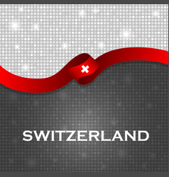 Switzerland flag ribbon shiny particle style vector