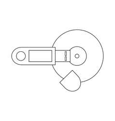 USB flash drive and CD icon outline style vector image