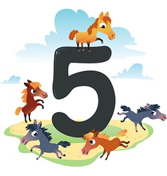 Collection number for kids farm animals - number 5 vector