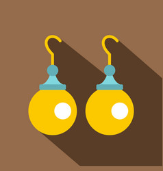 pair of earrings with pearls icon flat style vector image
