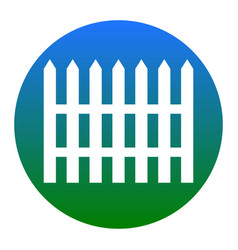 Fence simple sign  white icon in bluish vector