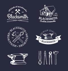 set of hand sketched blacksmith logos vector image