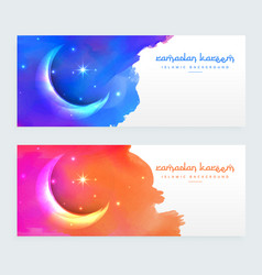 Creative moon design islamic banners with vector