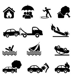 insurance and accident icon set vector image