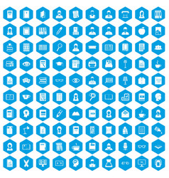100 reader icons set blue vector