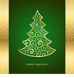 Gold christmas tree on a green background vector image