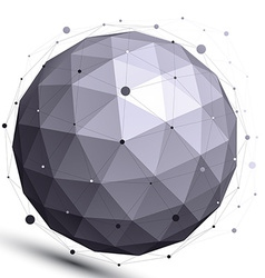 Geometric contrast spherical figure with wire mesh vector