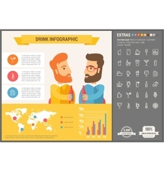 Drink flat design infographic template vector