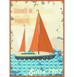 Welcome to tropical paradise vintage poster design vector image