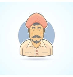 Indian hindustani man in traditional turban icon vector