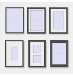 Set of black photo frames on the wall vector