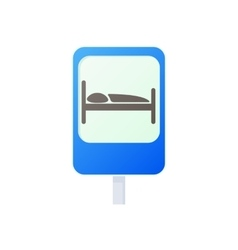 Bed traffic sign icon cartoon style vector